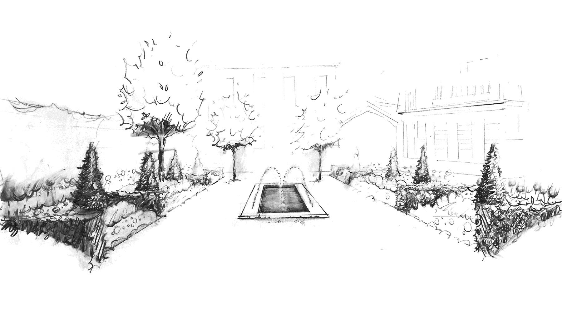 Croquis jardin classique a la francaise Olivia Bochet