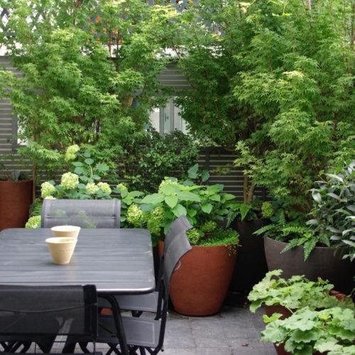 Patio design luxe paysagiste Neuilly Olivia Bochet